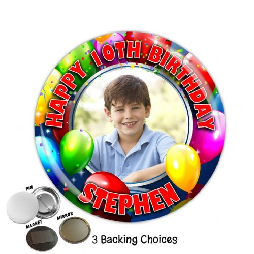 Large 75mm Personalised Balloons Happy Birthday PHOTO Badge N5